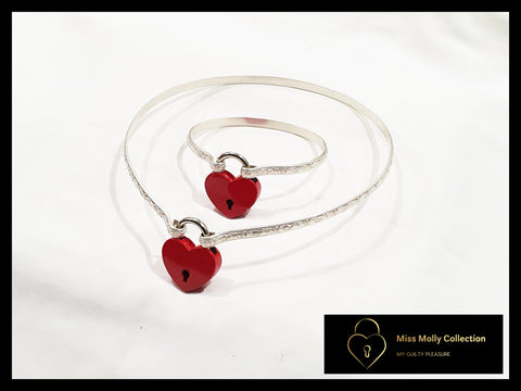 Sterling Silver & Red Day Collar & Cuff Combination