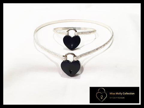 Sterling Silver & Black Day Collar & Cuff Combination