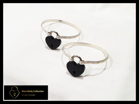 Sterling Silver & Black Cuff Set
