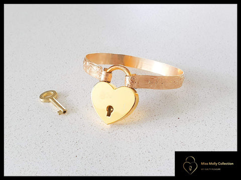 Gold Cuff & Heart Lock