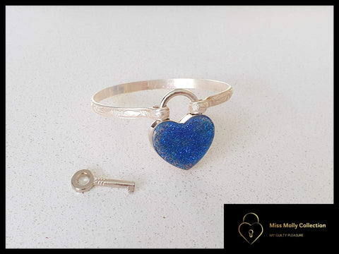 Sterling Silver Cuff & Colored Metallic Heart Lock
