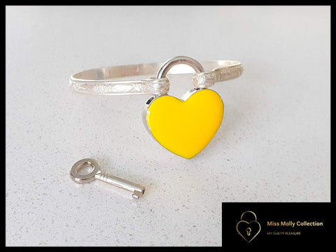 Sterling Silver Cuff & Colored Heart Lock