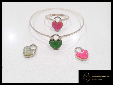 Sterling Silver Day Collar & Metallic Heart Lock