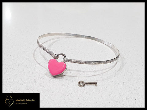 Sterling Silver Day Collar & Coloured Heart Lock