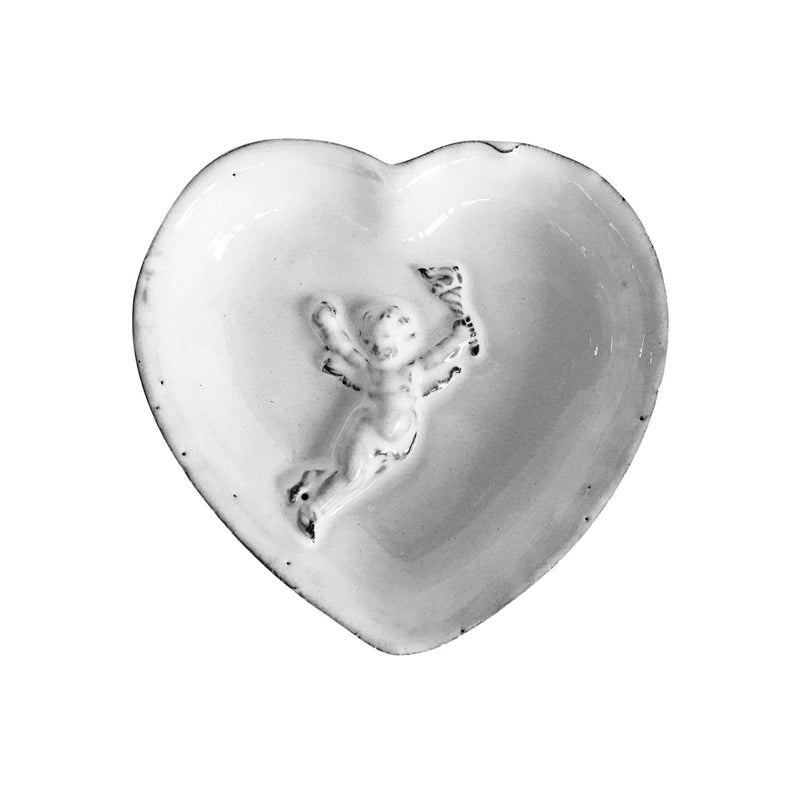 Ceramic heart-Mon Ange-10,5x10,5x1,7cm-Handmade in France by CARRON