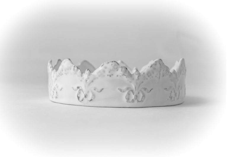 Couronne chiseled serving bowl-14x14x4cm-Handmade in France by CARRON
