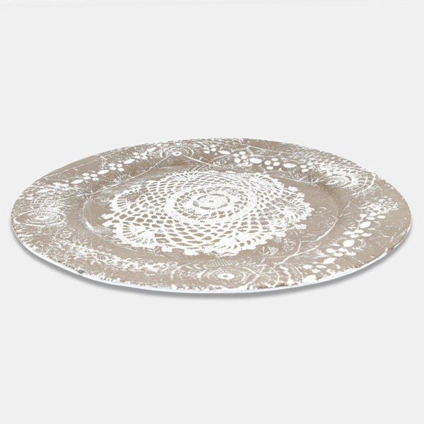 Dentelle raw clay plate-Serving plate (31x31x1,6cm)-Handmade in France by CARRON