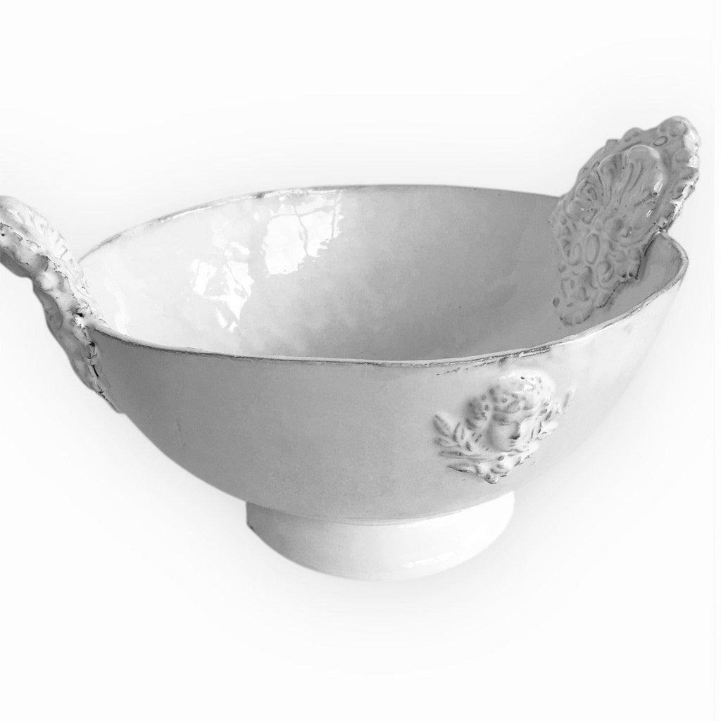 White Ceramic Mon Jules Serving Bowl With Handle Carron Paris