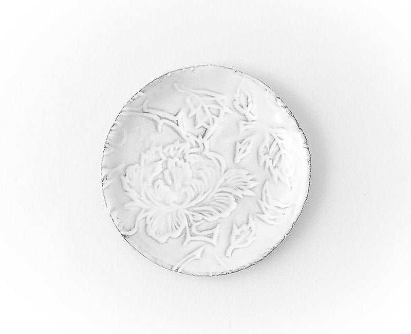 Pivoine plate-Butter plate ⌀11 H1-Handmade in France by CARRON