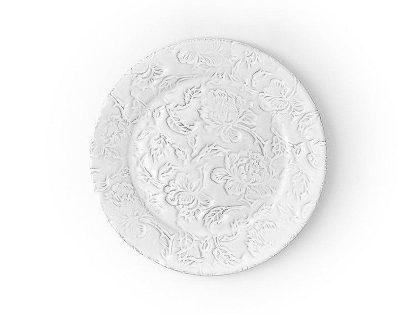 Pivoine plate-Flat plate ⌀28 H1,8-Handmade in France by CARRON