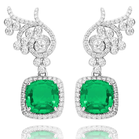 Lark & Berry's Flora Diamond Earrings with emerald drop