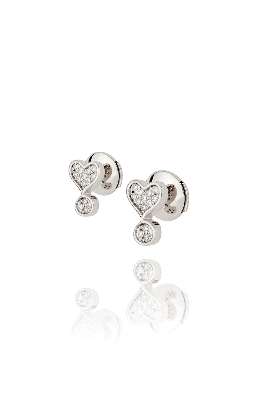 Silver and Diamond Exclamation Stud Earrings
