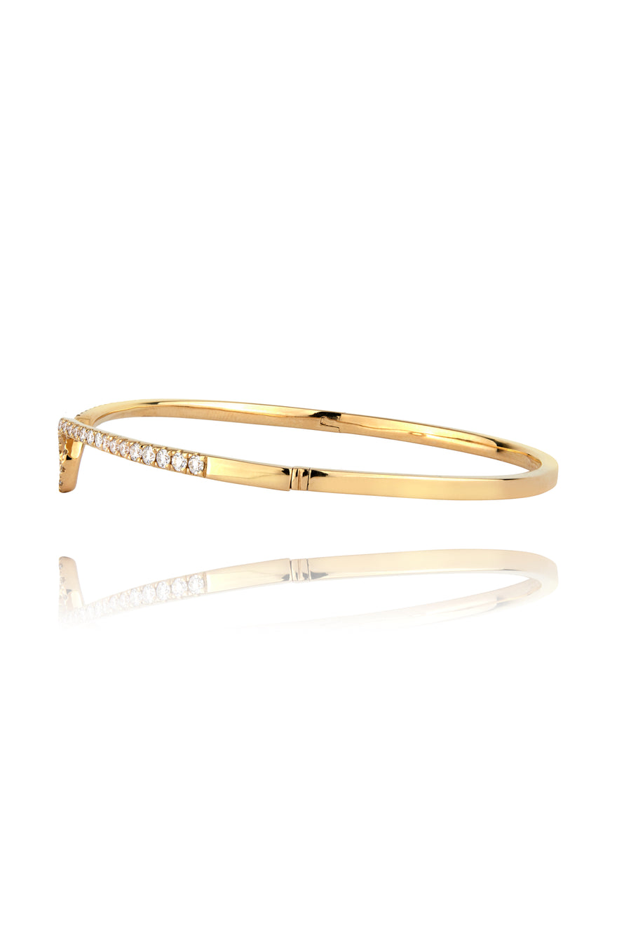 Lark & Berry's Modernist Diamond Pave Hinged Bangle with 14K yellow gold and lab-created diamonds.