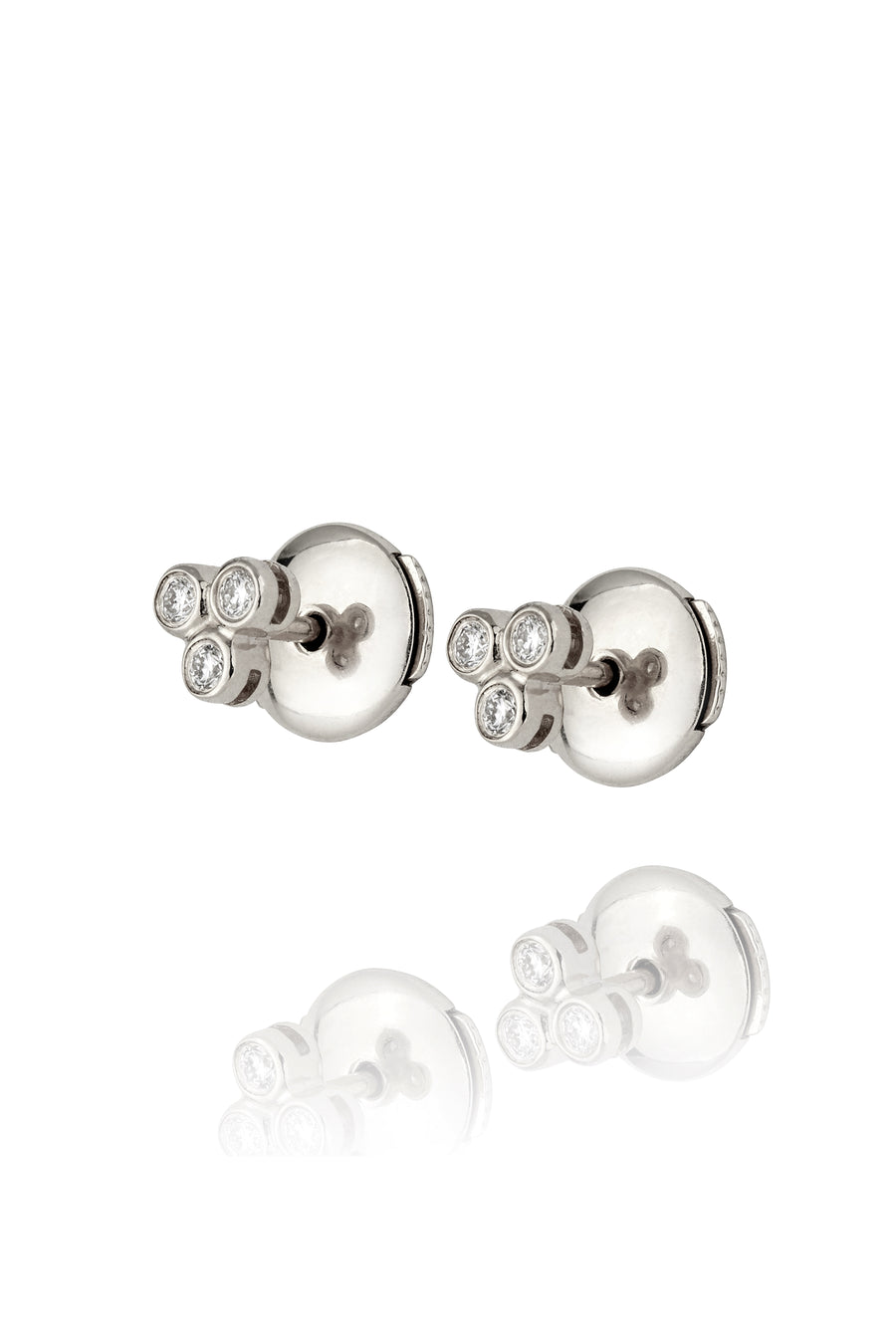 Silver and Diamond Trinity Stud Earrings