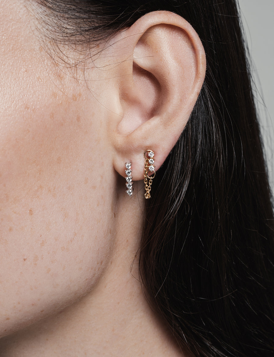 Modernist Tennis White Gold Earrings in 14K Gold