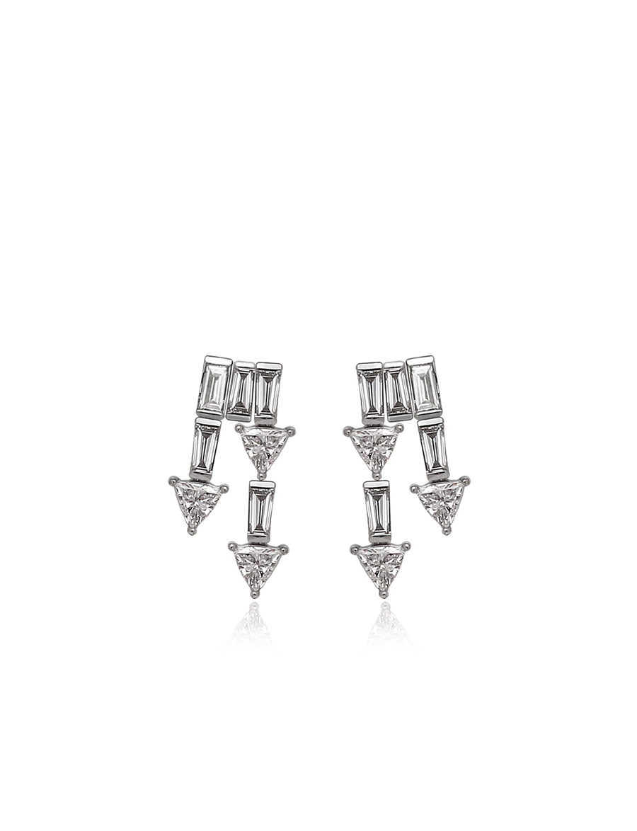 Supernova Double Drop Earrings in 18K White Gold (One of a Kind)