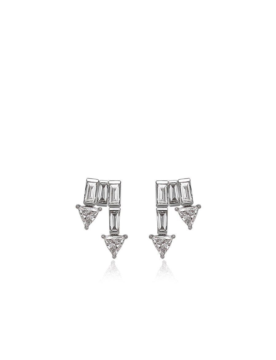 Supernova Double Stud Earrings in 18K White Gold (One of a Kind)