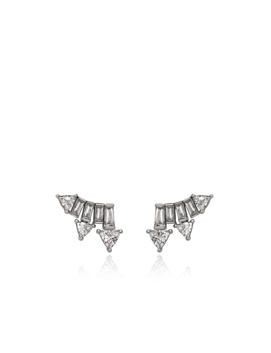 Supernova Crawler Earrings in 18K White Gold (One of a Kind)