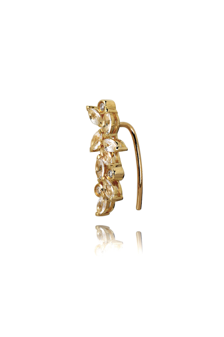 Veto Diamond and White Sapphire Ear Crawler in 14K Gold