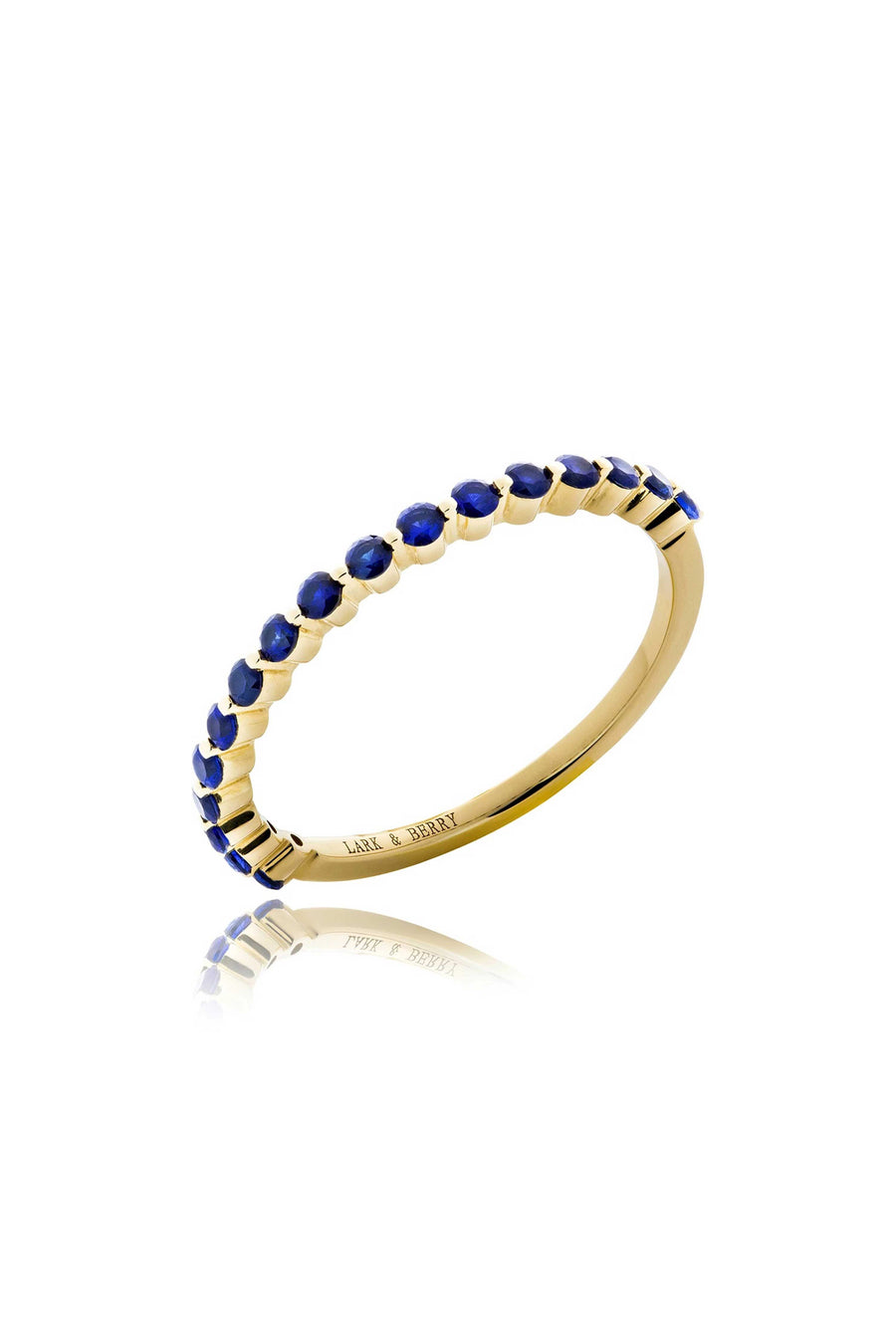 Modernist Stackable Blue Sapphire Ring in 14K Gold