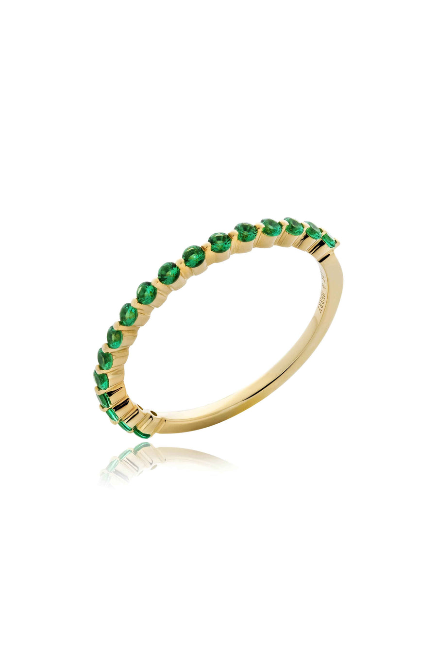 Modernist Stackable Emerald Ring in 14K Gold