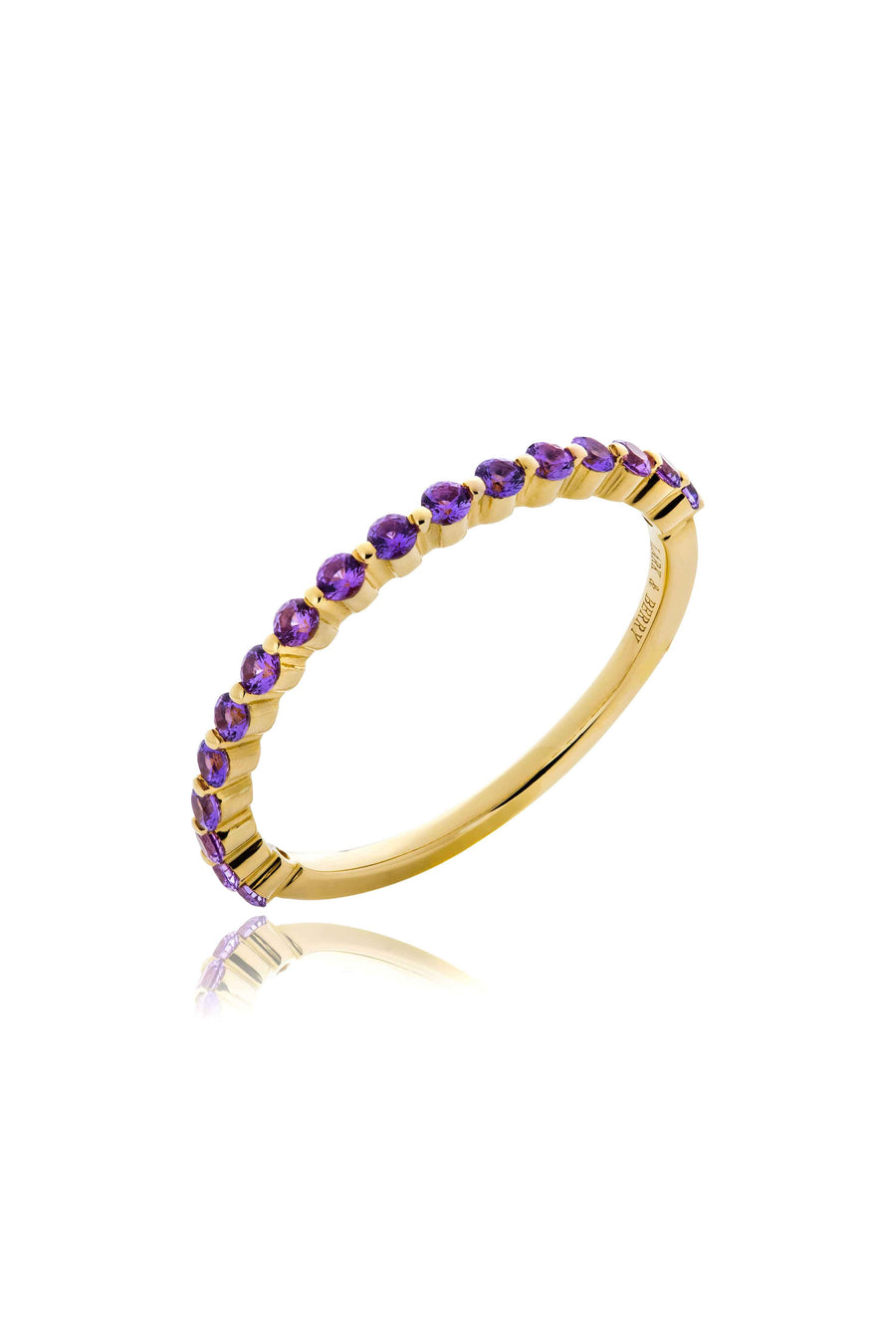 Modernist Stackable Fancy Purple Sapphire Ring in 14K Gold