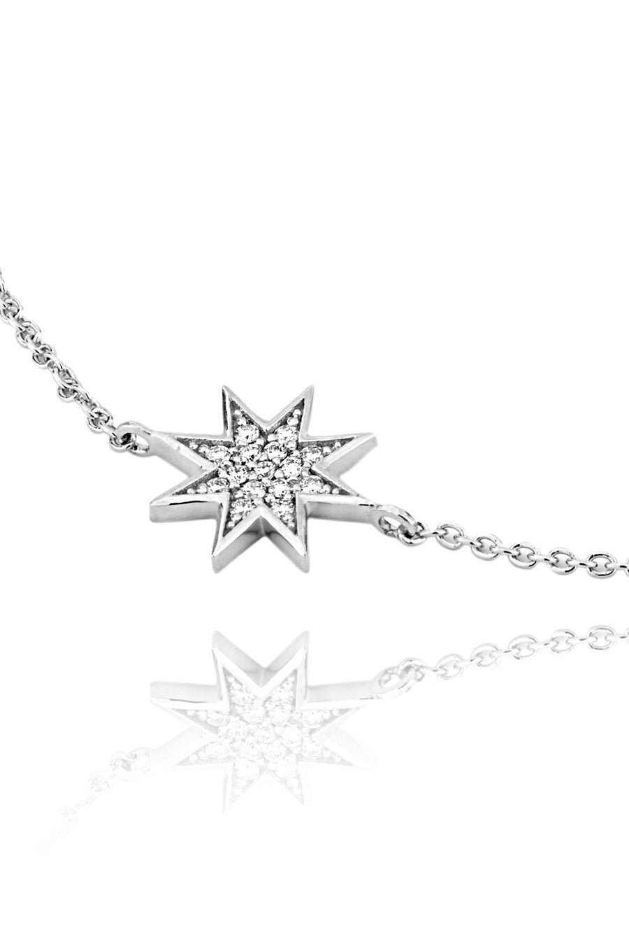 Silver and Diamond Star Bracelet