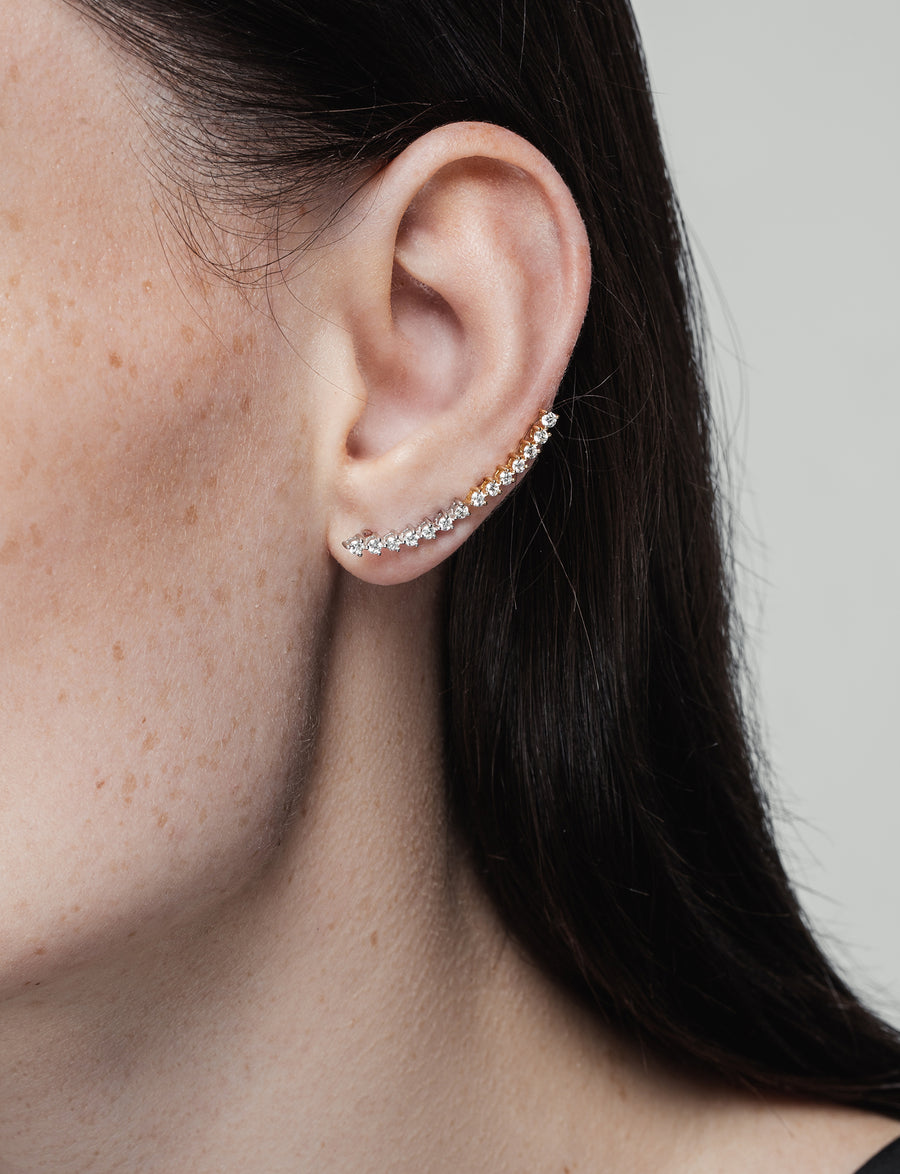 Modernist Linear Diamond Ear Crawler in 14K White Gold