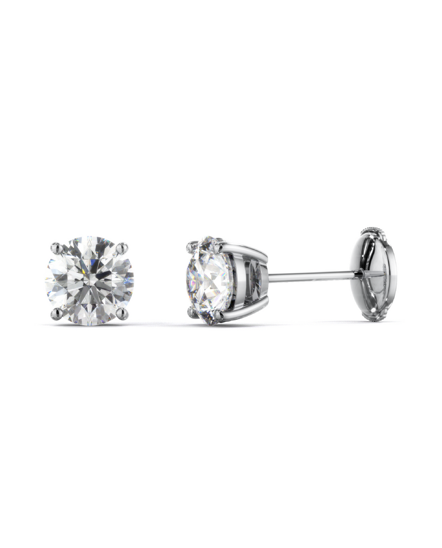 Walnut Diamond Stud Earrings Round Cut set on 4 Prongs