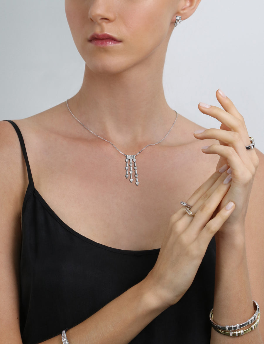 Supernova Asymmetrical Drop Necklace in 18K White Gold (One of a Kind)