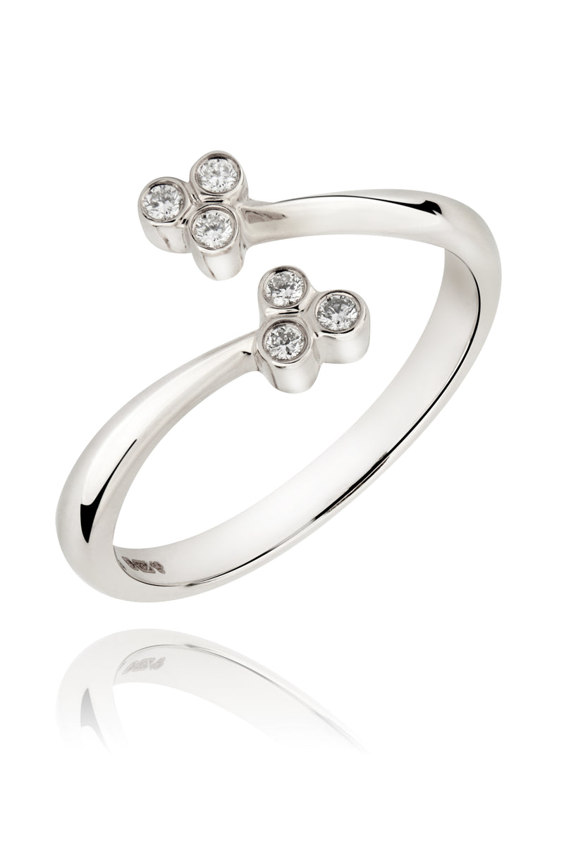 Silver and Diamonds Open Trio Ring