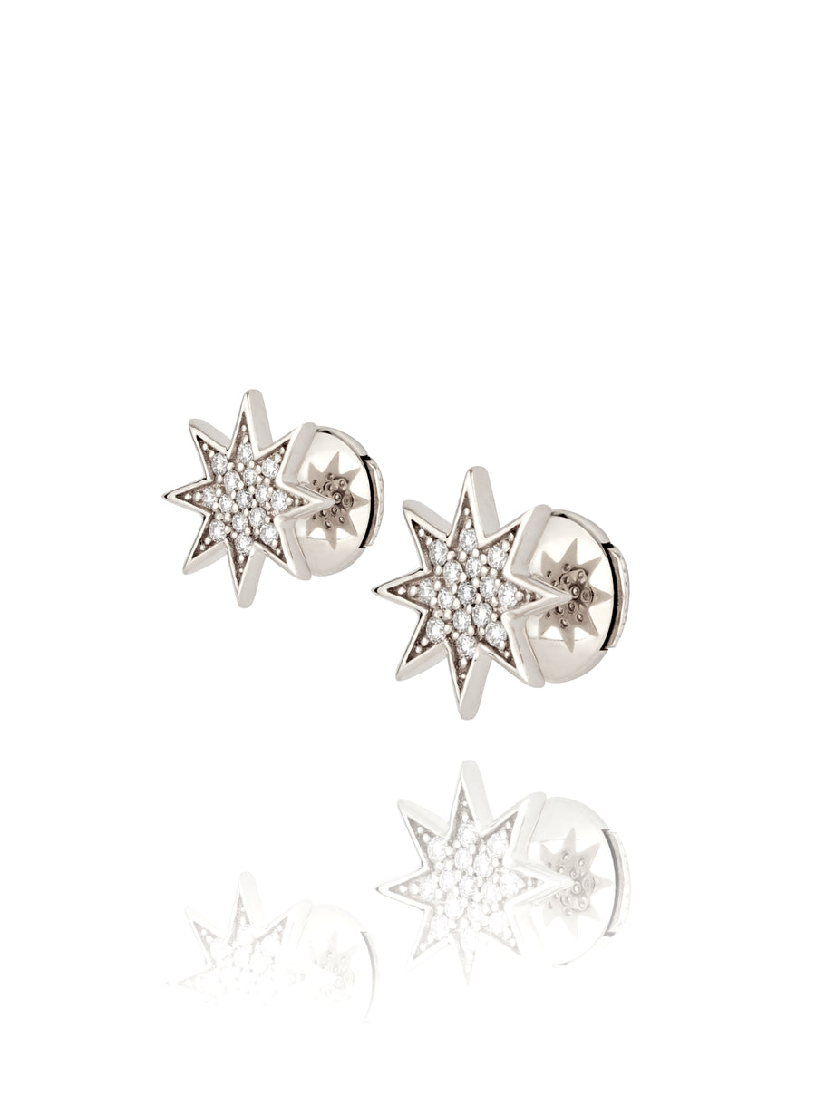 Silver and Diamond Star Stud Earrings