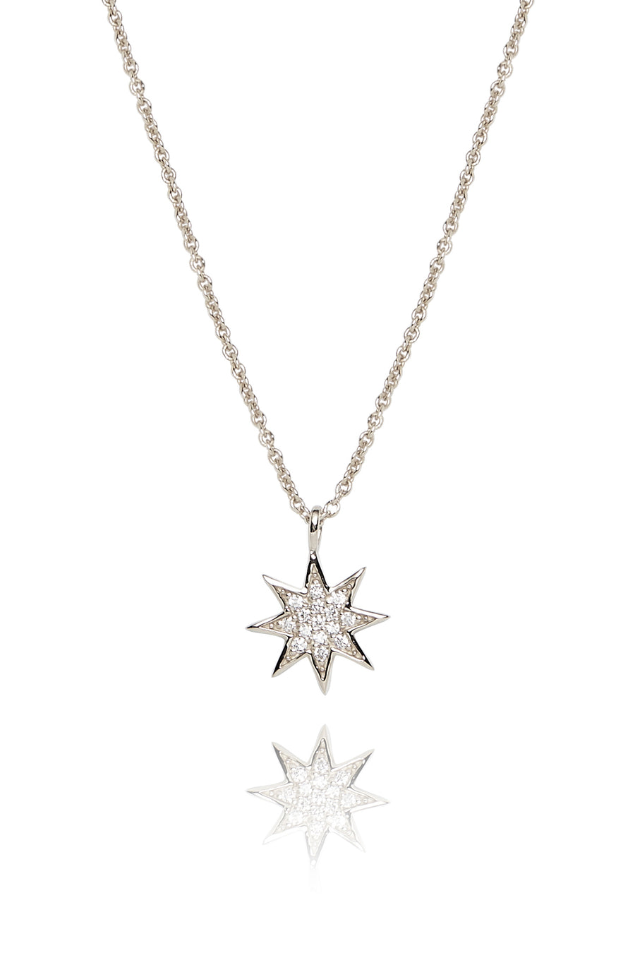 Silver and Diamond Star Pendant