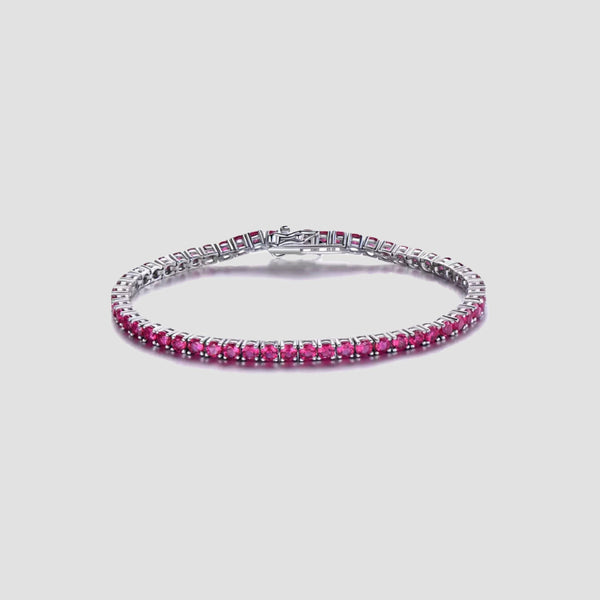 925 Sterling Silver Created Ruby Tennis Bracelet - Original Allure