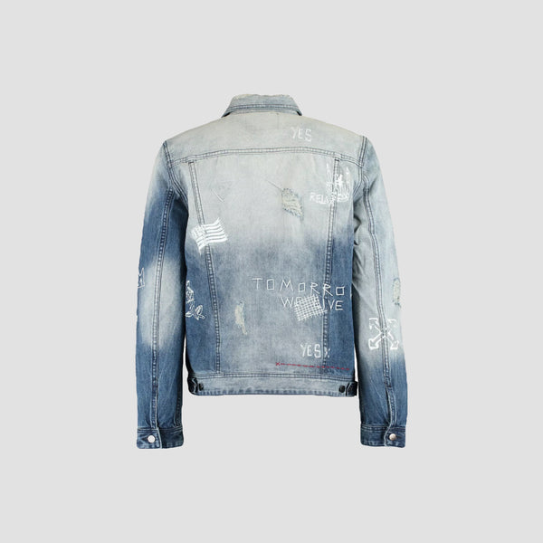 Guess Dillon Denim Jacket Distressed Embroidery - Original Allure
