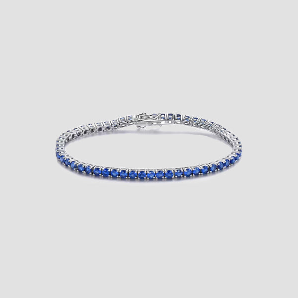 925 Sterling Silver Created Blue Sapphire Tennis Bracelet - Original Allure