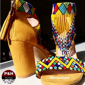 Yellow beaded heel