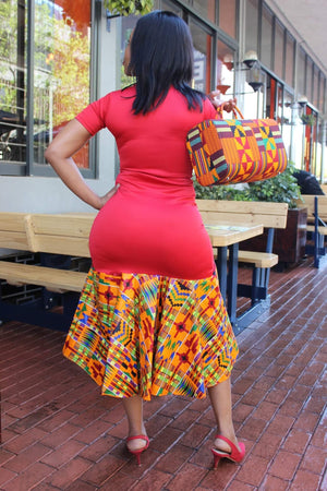 Dipuo Red scuba kente dress