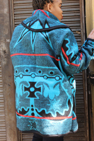 Blue and red Basotho jacket
