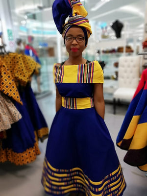 Mokgadi Venda off shoulder blue twill