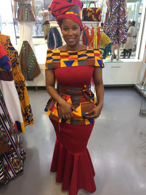 Red scuba with red kente dress