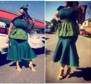 Green scuba shweshwe dress