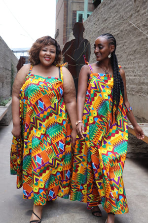 kente flowing dress