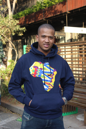Father's day Africa map hoodie Navy