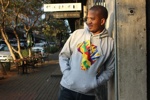 Father's day Africa map hoodie grey