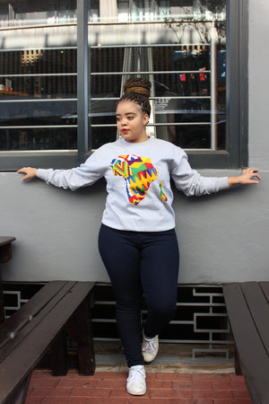 Grey Africa map sweater