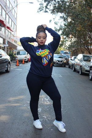 Navy Africa map sweater