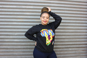 Black Africa map jersey sweater