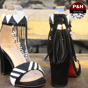 Black and white beaded heel WEBSITE