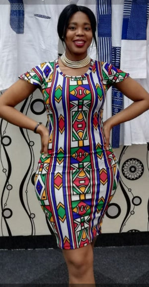Modern Ndebele stretch dress
